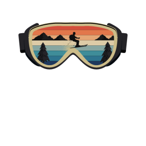 Retro Vintage Ski Skiing Brille mit Skifahrer