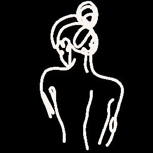 Lineart - woman back white