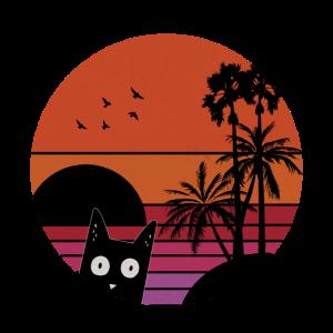 Katzen Retro Vintage Sonnenuntergang Meer Plamen