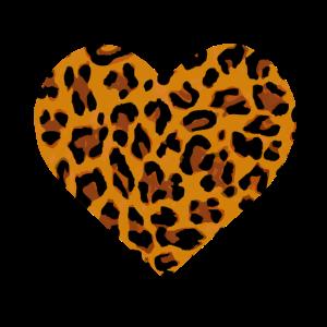 Herz mit Leopardenfell Muster Geschenk