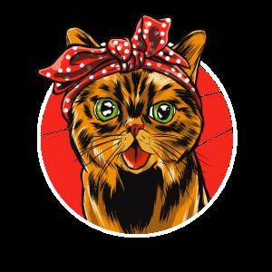 Best Cat Mom Ever Retro Katze Mit Bandana Katzen