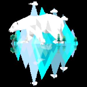 Blaue Eis Berge mit gigantischem coolem Eisbär