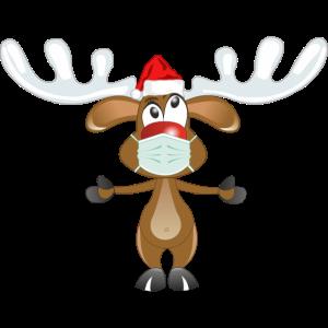 Rentier Rudolph mit der roten Nase und Mundschutz