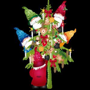 Wichtel Familie beim Weihnachtsbaum schmücken
