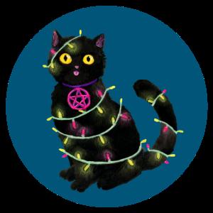 Katze Weihnachten Lichterkette petrolfarben Kreis