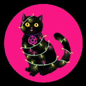 Katze Weihnachten Lichterkette pinker Kreis
