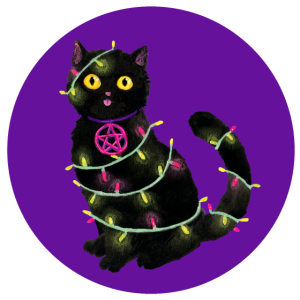 Katze Weihnachten Lichterkette lila Kreis