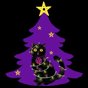 Katze Weihnachten Lichterkette lila Tannenbaum