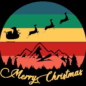 Frohe Weihnachten Santa Schlitten Rentier Retro