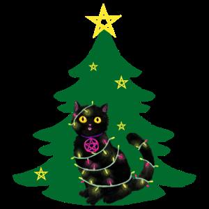 Katze Weihnachten Lichterkette grün Weihnachtsbaum