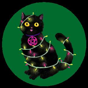 Katze Weihnachten Lichterkette grüner Kreis
