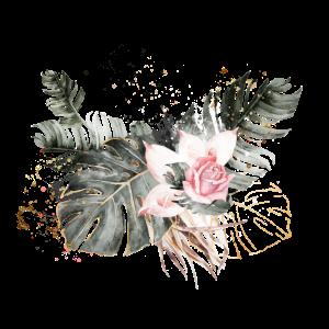 Palmblätter mit rosafarbener Rose