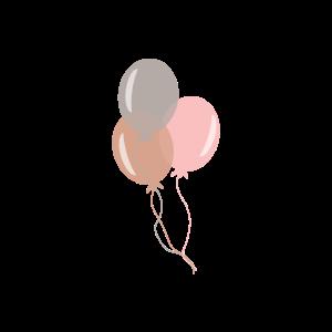 Luftballons rosa braun silber
