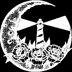 Leuchtturm im Mond (weiß)