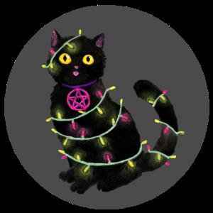 Katze Weihnachten Lichterkette grauer Kreis