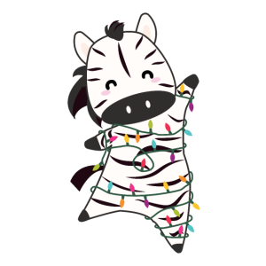 Zebra Weihnachten Lichterkette süße Tiere für Kids