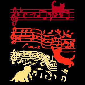 Notenschlüssel Katze Musiknote Musiker Geschenk