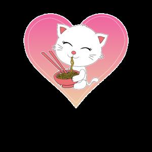 Kawaii Japanese Anime Cat Ramen Gift White Kitty C