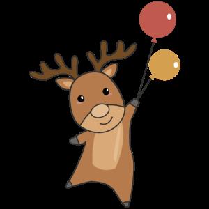 Rentier Waldtier mit Ballons süße Tiere für Kinder