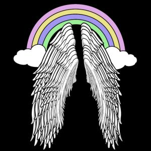 Regenbogen himmlisch Himmel Flügel Engelsflügel