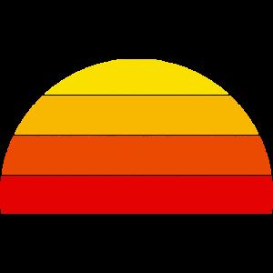 Retro Regenbogen Sunset Halbkreis