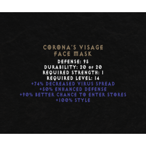 CORONA'S VISAGE GESICHTSMASKE LUSTIG RPG GESCHENK
