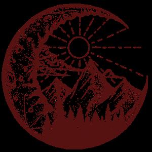 Berglandschaft im Mond (braun)