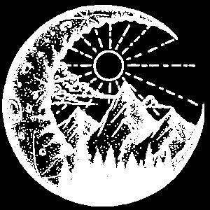 Berglandschaft im Mond (weiß)