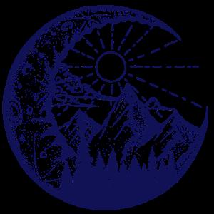 Berglandschaft im Mond (blau)