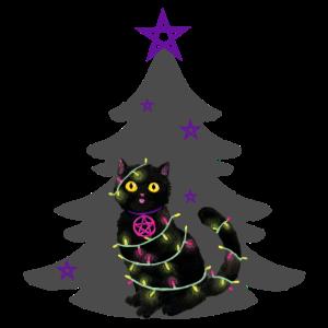 Katze Weihnachten Lichterkette grau Weihnachtsbaum
