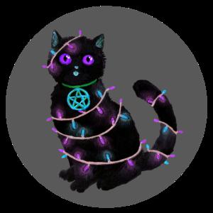 Katze Weihnachten Lichterkette grau Kreis