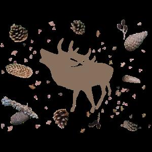 Hirsch mit Tannenzapfen