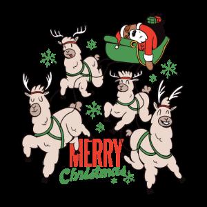 Faultier Weihnachtsmann und Lama Rentier Schlitten