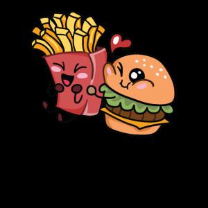 Burger und Pommes Hamburger Fritten