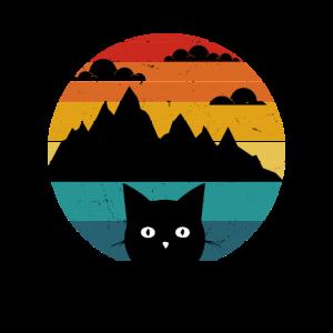 Katzen Retro Vintage Sonnenuntergang Berge Alpen