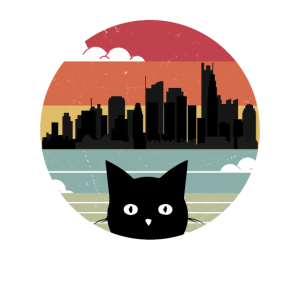 Katzen Retro Vintage Sonnenuntergang Stadt Skyline