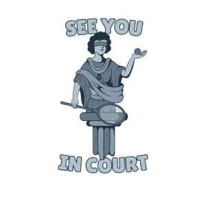 Tennis Justizia Statue See you in Court