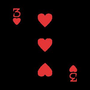 Spielkarte Herz 3