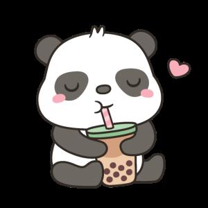 Netter Panda genießt Boba Tea Drink