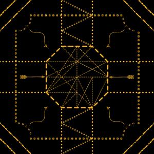 Geometrie Pfeile Gold auf Schwarz Hintergrund