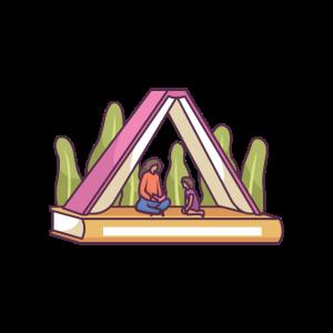 Erwachsene und Kinder lesen im Zelt mit Buch gemacht