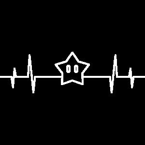 Herzschlag Mario Stern Kart Super Starman Retro
