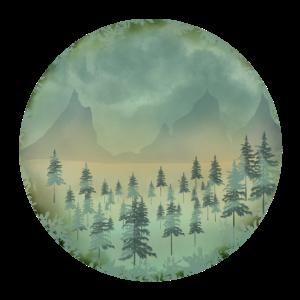 Vintage Wald Berge Landschaft