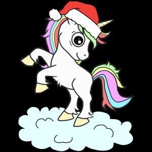 Einhorn an Weihnachten mit Weihnachtsmütze