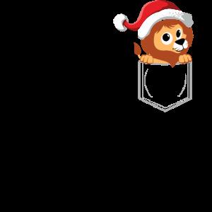 Löwe in Brusttasche - Weihnachtsmütze Weihnachten
