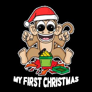 Erstes Weihnachten Affe Geschenk lustig