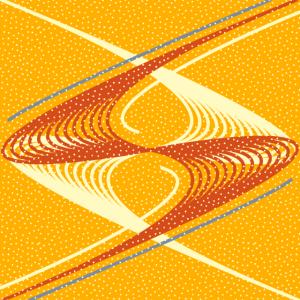 Rote Beige Punkte Blaue Linien Gelber Hintergrund