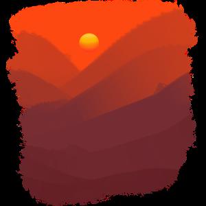 Rote Berge beim Sonnen Untergang