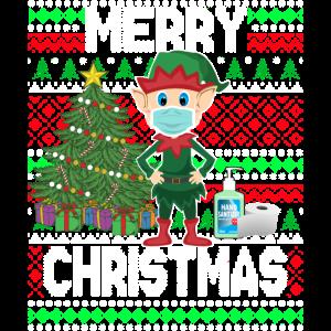 Frohe Weihnachten - Elf trägt Maske