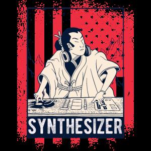 Vintage Synthesizer Mit USA Flagge Für DJ Techno